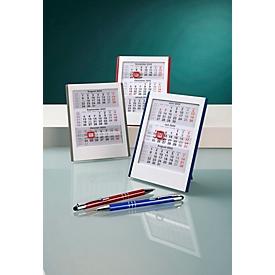 Mini-3-Monats-Kalender, Tischaufsteller, mit Datumsweiser, B 127 x H 165 mm, Werbedruck 90 x 20 mm, grau/weiß, Auswahl Werbeanbringung optional