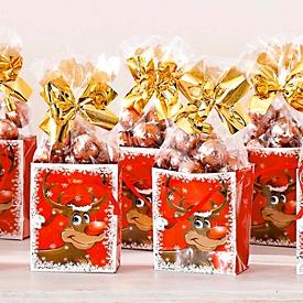 Mini-Weihnachtstüten-Set, 10-tlg., je ca. L 7 x B 4 x H 8 cm, je 50 g Schokolade