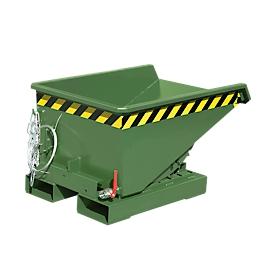 Minicontenedor de virutas tipo EXPO-E 150, proceso de vuelco mediante cable, capacidad 0,15 m³, hasta 750kg, verde reseda RAL 6011