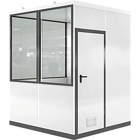Mobiel ruimte-in-ruimtesysteem VSM, L 2045 x B 2045 mm, voor buitenopbouw, met vloer, grijswit RAL 9002/ anthr.grijs RAL 7016