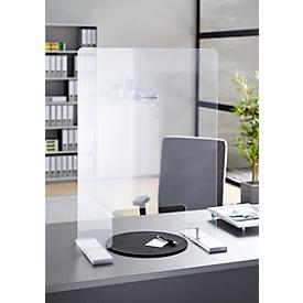 Mobiele beschermwand in acrylglas, B 600 x H 800 mm, inclusief 2 zelfklemmende voeten en  plakband
