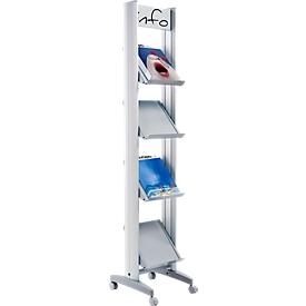 Mobiele folderhouder, 4 foldervakken, van metaal, 4 x A4, B 330 mm