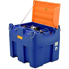 Mobile Tankstelle CEMO Blue-Mobil EASY, mit Membranpumpe CEMATIC BLUE 230 V, 980 l Tank für AdBlue®, Kranösen, Klappdeckel, B 1720 x T 1070 x H 1120 mm