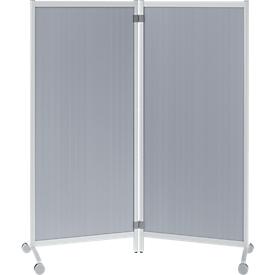 Mobile Trennwand, desinfektionsmittelbeständig, 2 Elemente, aluminiumfarben
