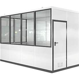 Mobiles Raumsystem WSM, L 4045 x B 2045 mm, für Außenaufstellung, mit Fußboden, grauweiß RAL 9002/ anthr.grau RAL 7016