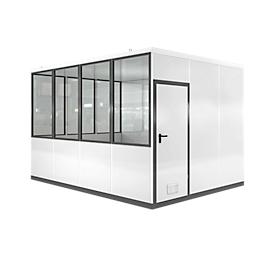 Mobiles Raumsystem WSM, L 4090 x B 3045 mm, für Außenaufstellung, mit Fußboden, grauweiß RAL 9002/ anthr.grau RAL 7016