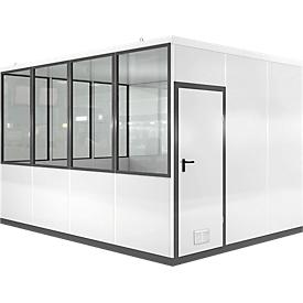Mobiles Raumsystem WSM, L 4090 x B 3045 mm, für Innen, ohne Fußboden, grauweiß RAL 9002/anthr.grau RAL 7016
