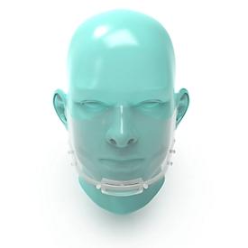 Mond- en neusscherm, verwisselbaar schild,met elastieken, wit/helder