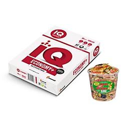 mondi Büropapier IQ Economy A4, 80 g/m², reinweiß, 1 Karton = 15 x 500 Blatt + Haribo Dose Saft-Goldbären