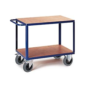 Montagewagen, 2 legplanken, voor max. 600 kg, laadvloer L 1000 x B 700 mm, staal