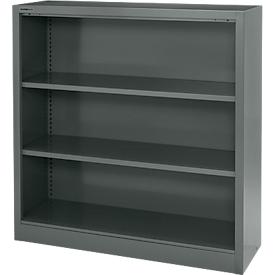 MS iCOLOUR boekenkast, plaatstaal, 3 OH, B 950 x D 400 x H 1215 mm, grafiet RAL7024