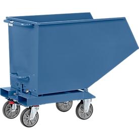 Muldenkipper 4702, 450 l, blau RAL 5007, ohne Ablasshahn und Sieb