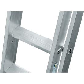Multifunctionele ladder Krause, 3-delig, treden T 80 mm & sporten T 30 mm, dwarsbalk, TRBS 2121-2, met 3 x 8 sporten, aluminium