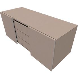 Multiladeblok SOLUS PLAY, 3 schuifladen, B 1350 mm, stone grey