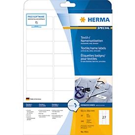 Namens- und Textiletiketten Herma, A4, 63,5 x 29,6 mm, weiß, ohne Streifen, 540 Stück
