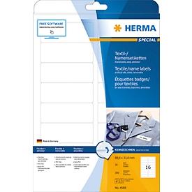 Namens- und Textiletiketten Herma, A4, 88,9 x 33,8 mm, selbstklebend, weiß, 160 Stück
