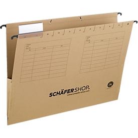 Niet te missen aanbieding: SCHÄFER SHOP kartonnen hangmappen, met linnen versteviging aan de zijkant, voor A4 formaat, bruin, 4 x 25 stuks