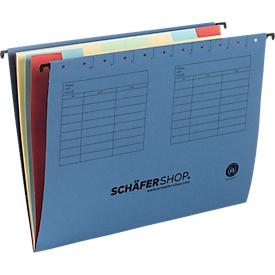 Niet te missen: SCHÄFER SHOP hangmap met vakken, voor formaten tot A4, karton, blauw, 4 x 5 stuks
