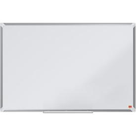 nobo Whiteboard Premium Plus, Stahl nanobeschichtet, magnethaftend, B 900 x H 600 mm, inkl. abnehmbarer Stiftablage und 1 Boardmarker