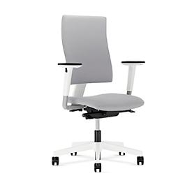 NowyStyl Bürostuhl 4ME, Synchronmechanik, ohne Armlehnen, höhenverstellbare Rückenlehne, weiß/grau