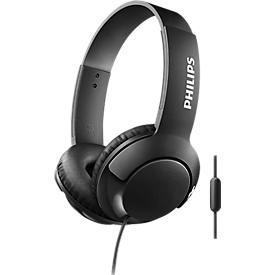 On Ear Kopfhörer Philips SHL3075, als Headset einsetzbar, kabelgebunden, integriertes Mikrofon, 40 mW, 103 dB, schwarz