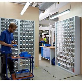 Opbergbakkast, inhoud 333 l, 69 uitneembare opbergboxen met verzonken greep, B 665 x D 250 x H 2000 mm, l.grijs/transp.