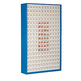 Opbergbakkast, volume 635 l, 204 uitneembare opbergboxen met verzonken greep, B 1270 x D 250 x H 2000 mm, g.blauw/transparant