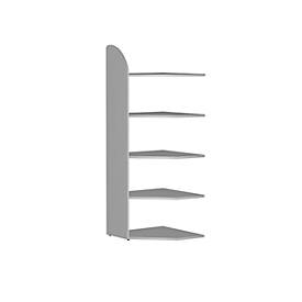 Open kast Dante®, open hoekkast bouwdeel, H 1900 x B 600 mm, zonder achterwand, lichtgrijs