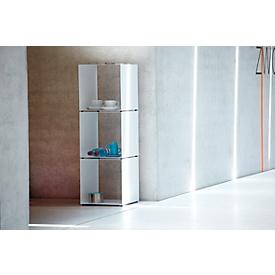 Open kast Jan Kurtz Cubus, kubusvorm, stapelbaar, zonder legborden, B 350 x D 350 x H 360 mm, plaatstaal, wit