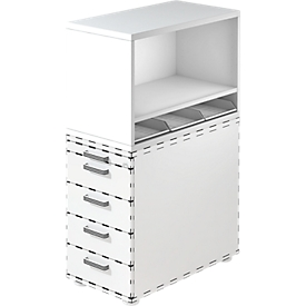 Open opzetkast TOPAS LINE, voor vaste ladeblokken, 1 legbord, wit