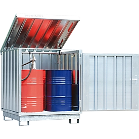 Opslag van gevaarlijke stoffen Safe Master, type SM 4, capaciteit 4 x 200 l vaten staand, WGK 1-3 gegalvaniseerd