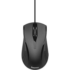 Optische Maus Hama MC-200, kabelgebunden, 3 Tasten, inkl. Scrollrad, schwarz