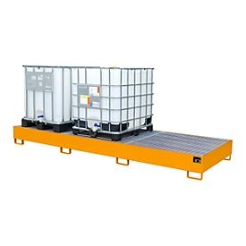 Opvangbak AW 1000-3, voor 3 IBC-containers à 1000 l of 10 vaten à 200 l, , met gegalvaniseerd rooster, L 3850 x B 1300 x H 340 mm, oranje RAL 2000