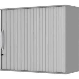 Opzetroldeurkast BARI, 4 legborden, middenwand, slot, H 1057 mm, middengrijs