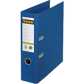 Ordner Bene No.1, A4, Rückenbreite 80 mm, Hebelmechanik, Griffloch & geklebtes Rückenschild, CO2-neutrale Pappe, blau