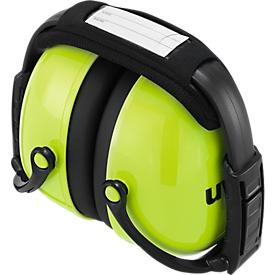 Orejeras Uvex K2, espuma con memoria, SLC80 31 dB, EN 352-1, diadema plegable y acolchada, lima neón