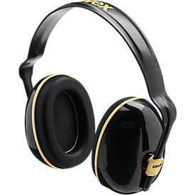 Orejeras Uvex K200, dieléctricas, SLC80 28 dB, ajustables en longitud, giratorias 360°, negro/ocre