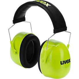 Orejeras uvex K4, espuma con memoria, SLC80 35 dB, EN 352-1, longitud ajustable, diadema acolchada, lima neón