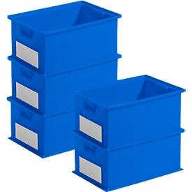 Pack ahorro cajas apilables serie 14/6-2, plástico PP, capacidad 21l, azul, 5 unidades