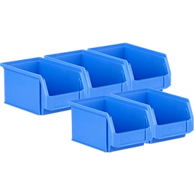Pack ahorro de 5 cajas de abertura frontal SSI Schäfer LF221, PP, L 234 x An 150 x Al 122mm, 2,7l, empuñadura empotrada y ranuras, azul