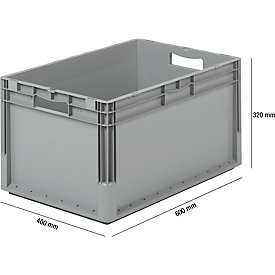 Pack ahorro de 5 cajas norma europea ELB 6320, de polipropileno, capacidad 64l, gris, An 600 x P 400 x Al 320mm