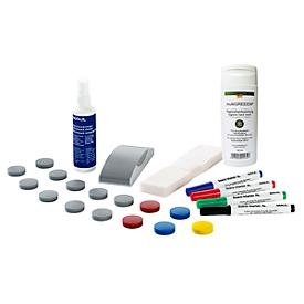 Pack ahorro de accesorios para pizarra blanca MAUL Standard, 31 piezas + desinfectante de manos vegano multiGREEEN®, 50ml