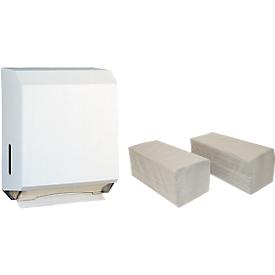 Pack ahorro dispensador de toallas de papel CWS y 5000 hojas plegadas zigzag, 1 capa