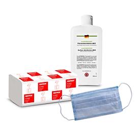 Pack ahorro toallas de papel plegadas en Z KATRIN, 4000 uds. + desinfectante de superficies multiGREEEN®, 500 ml + mascarilla, 50 unidades