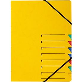 PAGNA Dokumentenmappe Easy, DIN A4, Gummizugverschluss, 7-teilig, gelb