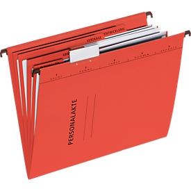 PAGNA Hängemappe, Personalakte, 4 Fächer mit Heftmechanik DIN A4, Karton, rot