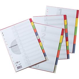 PAGNA Kartonregister mit Deckblatt, zur freien Verwendung, 5 Blätter, 5-farbig