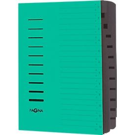 PAGNA Ordnungsmappe, für DIN A4, 12 Fächer, Pressspan, 5 Stück, grün
