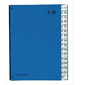 PAGNA Pultordner Color 1 - 31, auch für Überformate, numerisch, Polypropylen, blau