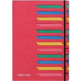 PAGNA Pultordner, für DIN A 4, A-Z, 12 Fächer, Karton, rot